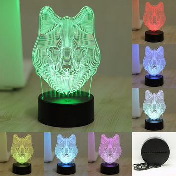 7 Color Change 3D Table Lamp Wolf Animal Bedroom LED Lighting Toys Decorative Xmas Night Light USB Plug Power Bank ZH01675