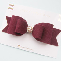 Oversized MARSALA burgundy large felt bow hair clip!!! Can be made in any colour!!