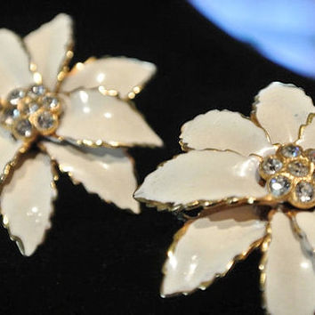 SANDOR Earrings Rhinestone Pave Clip On Earrings 1940s 40s Antique Wedding High Fashion Bride Bridal Earrings Enamel Flower Floral Earrings