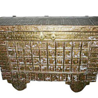 India Vintage Retro Classic Pitara with Brass cladding Antique Chest