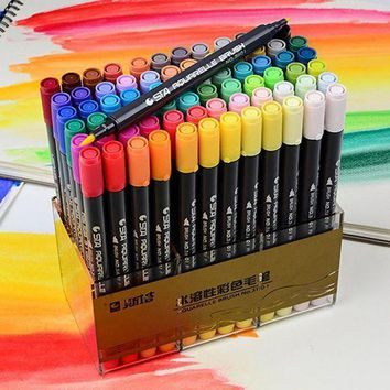 LMFON1O Day First STA Dual Brush Water based Art Marker Pens with Fineliner Tip 12 24 36 48 Color Set Watercolor Soft Markers for Artis