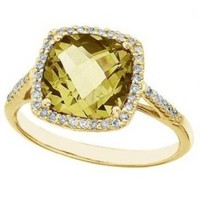 Cushion Lemon Quartz & Diamond Cocktail Ring 14k Yellow Gold (3.70ct) - Allurez.com
