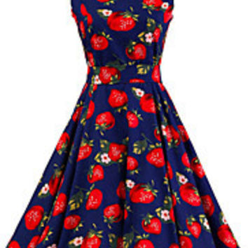 Women's Dark Blue Strawberry Pattern Floral Dress Vintage Sleeveless 50s Rockabilly Swing Short Cocktail Dress
