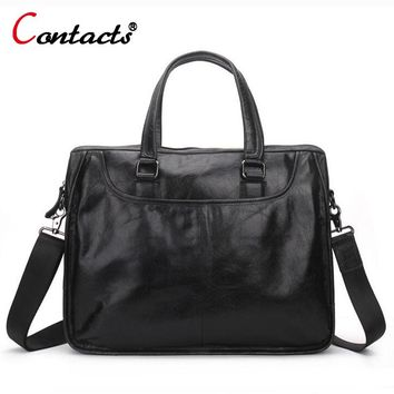 CONTACT'S Genuine Leather men Bag Casual Handbags Cowhide Crossbody Bags Men's Travel Bags Tote Laptop Briefcases Men Bag new