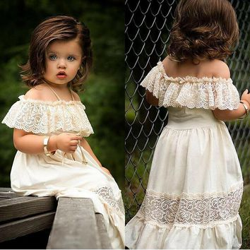 US Toddler Baby Girl Summer Off-Shoulder Ruffle Lace Party Dress Casual Clothes