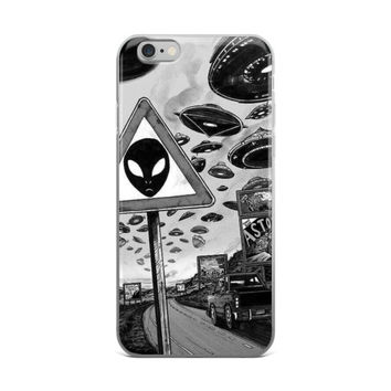 Aliens Town City Road Spaceships UFO Space Crafts Black & White iPhone 4 4s 5 5s 5C 6 6s 6 Plus 6s Plus 7 & 7 Plus Case