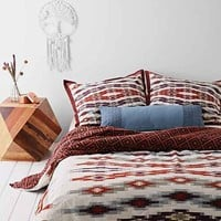 4040 Locust Asher Ikat Duvet Cover- Red Full/queen