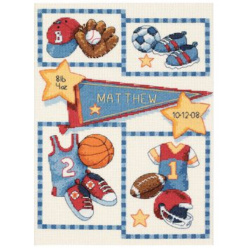 "Dimensions/Baby Hugs Counted Cross Stitch Kit 9""X12""-Little Sports Birth Record (14 Count)"