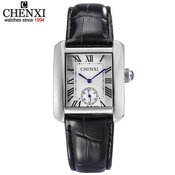 Small Dial Work Brand Tag CHENXI Casual Watches Classic Black Leather Square Quartz Couple Watch Fashion Men & Women Watch Hours