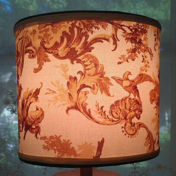 Drum Lampshade/Love/Renaissance Romantic Scenes/Brown Tan Cream Fabric/French Bedroom /Women/Birds/Courtship/Brown Grosgrain/Handmade Trim