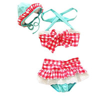 Taiycyxgan Baby Toddler Girls 3pcs Swimwear Grid Bikini Swimsuit With Hat Set,Small / 1-2 Years,Red