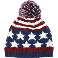 River Island MensNavy stars and stripes beanie hat