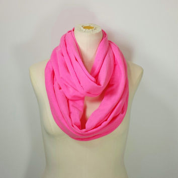 NEON PINK Infinity Scarf - The Grande - Neon Pink Eternity Scarf - Neon Pink Loop Scarf Super Cozy
