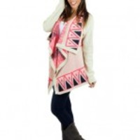 Neon Pink And Ivory Printed Cardigan