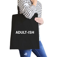 Adult-ish Black Canvas Bag Trendy Varsity Tote For College Students