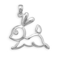 Cut Out Bunny Silver Pendant