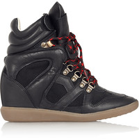 Isabel Marant - Étoile Buck leather and suede wedge sneakers