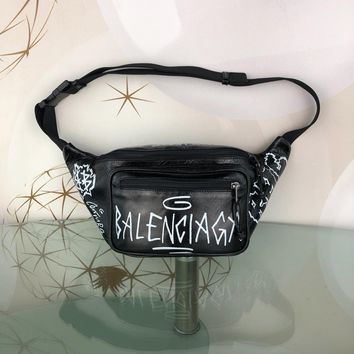 DCCK 1567 Balenciaga Fragrant leather doodle waist chest bag Black White