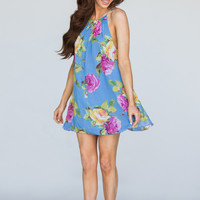 Ellen Blue Floral Swing Dress