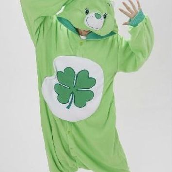 Green Four-leaf Clover Lucky Care Bear Cosplay Pajamas Adult Women Men Unisex Onesuit One Piece Hooded Romper Party Costumes