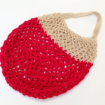 FREE SHIPPING - Dip-dye, Crochet Market Bag - Tan, Red