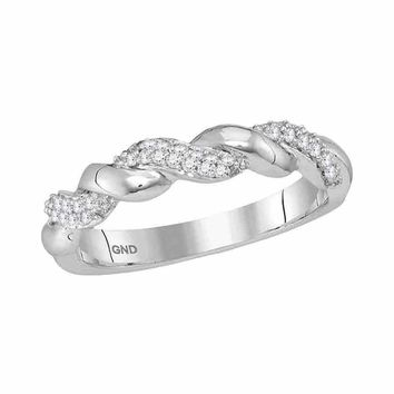 10kt White Gold Women's Round Diamond Twist Stackable Band Ring 1-6 Cttw - FREE Shipping (US/CAN)