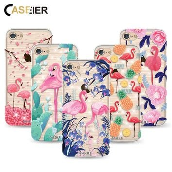 Caseier Hot Selling Case For iPhone 7 8 Plus Flamingo Unicorn Cover For iPhone 8 7 Shell Exotic Transparent Soft TPU Couque Capa