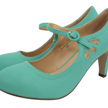 60's Retro Vintage Pinup Mary Jane Seaform Green Vegan Suede Cut Out Pumps