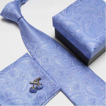Blue Floral Design Necktie Set with Matching Cufflinks, Pocketsquare and Gift Box