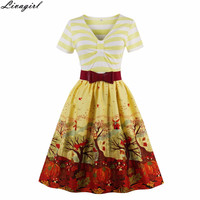 2017 V Neck Print Vintage Dresses Style Retro Robe Rockabilly Feminino Vestidos Hepburn 50s Tunic dresses Plus Size Womens Cloth