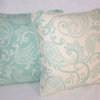 "Ivory & Aqua Paisley Throw Pillow  Reversible 18"" Cotton Turquoise Blue Welted Ready Ship Cover and Insert"