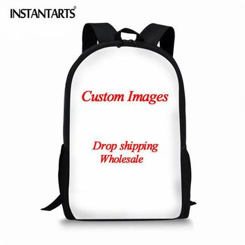 Girls bookbag INSTANTARTS Retro US/UK Flag Design Men's Backpack Fashion the Statue of Liberty/Eiffel Tower Print Women Bagpack  AT_52_3