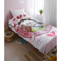 Single Quilt Cover Set 100% Cotton Favourites Horse Pink by Kids Bedding House