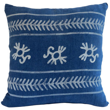 Blue Block Print Pillow