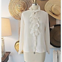 ||| IN LOVE ||| Romantic Vtg 80's Ruffled ||| DANIEL MARTIN ||| Ivory Blouse | M