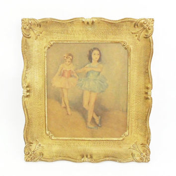 Ballerinas in blue and pink ornate wood frame - Golden wood frame - Ballerina wall art wall hanging - Girl room decor