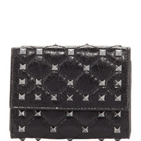 Valentino Rockstud Spike Crackled Card Case, Black
