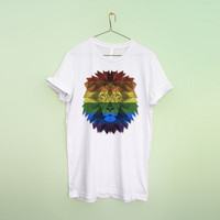 LGBT flag lion unisex tee shirt