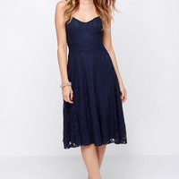 On the Boulevard Navy Blue Lace Midi Dress