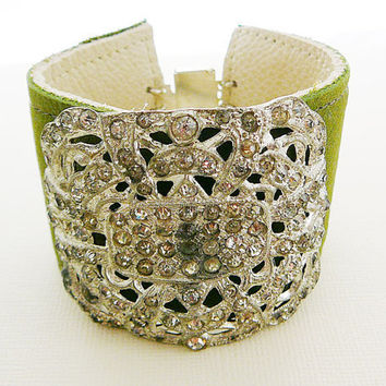 Leather Cuff Bracelet, Buckle Antique Rhinestone Sage Green Rocker Statement Bling