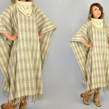 MEXICAN BLANKET vtg 70s striped boho hippie ethnic fringed maxi PONCHO, one size fits all
