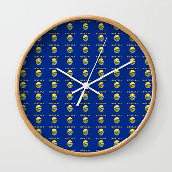 flag of montana 2-america,usa,big sky, treasure state,montanan,west,billings,missoula,great falls Wall Clock by oldking