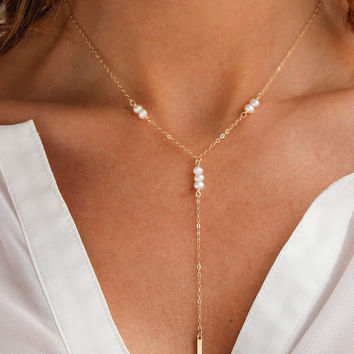 Galactic Pearl Y Necklace - Christine Elizabeth Jewelry