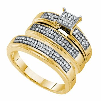 10kt Yellow Gold His & Hers Round Diamond Cluster Matching Bridal Wedding Ring Band Set 1/3 Cttw