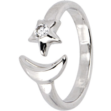 Sterling Silver 925 Cubic Zirconia STAR and MOON Toe Ring | Body Candy Body Jewelry