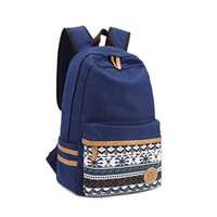 Folk Fashion Pure Irregular Printed Geometry Canvas Backpack
