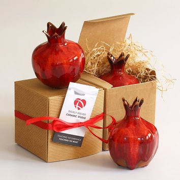 Red Sunset Ceramic Pomegranate - Judaica gift for Rosh Hashana or Pesah, home decoration
