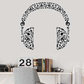 Vinyl Wall Decal Headphones Music Musical Room Art Stickers Unique Gift (426ig)