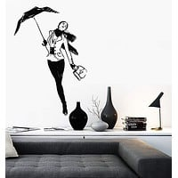 Wall Vinyl Decal Romantic Beatiful Girl With Umbrella Bedroom Decor Unique Gift z3919