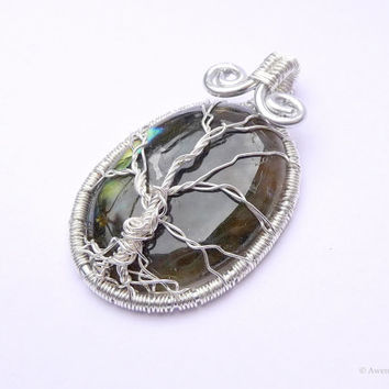 "Winter Tree Moss Green Labradorite Silver Plated Wire Wrapped ""Tree Of Life"" Gemstone Pendant"